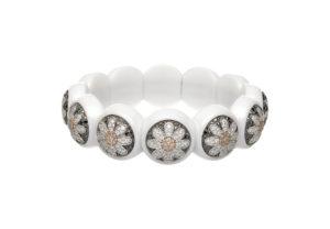 Dama bracciale elastico in ceramica bianca e diamanti