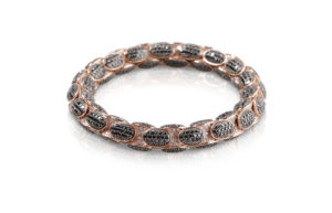 Anaconda bracelet in red gold with white and black diamonds