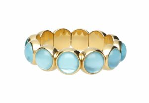 Aura Dama medium bracelet with light blue doublet in yellow goldplated