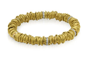 Jolly gold elastic bracelet with white diamonds