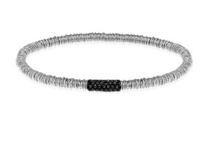Joy elastic bracelet in white gold with black diamonds