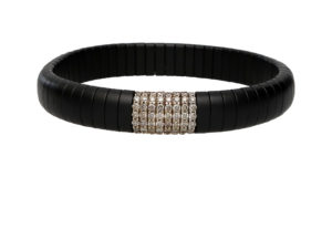 Pura bracciale elastico in ceramica nera satinata e diamanti brown