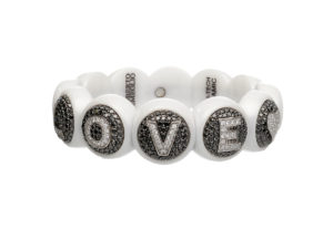 Dama medium bracelet in white shiny ceramic and diamonds