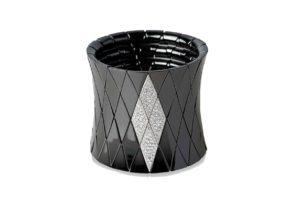 Diva bracciale elastico in ceramica nera lucida e diamanti bianchi