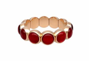Aura Dama medium bracelet with red doublet in rose goldplated ceramic