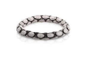 Anaconda bracelet with white and black diamonds