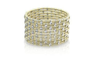 Joy ten row yellow gold bracelet with white diamonds bezels