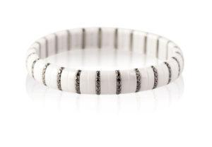 Pura bracciale elastico in ceramica bianca e diamanti neri