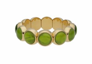 Aura Dama medium bracelet with green doublet in yellow goldplated ceramic