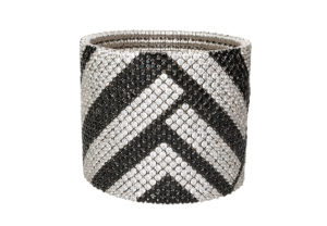 Cashmere gold bracelet with white and black diamonds