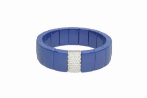 Domino blue shiny ceramic bracelet with white diamonds