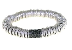 Jolly large elastic bracelet in white gold with black diamonds
