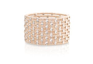 Joy ten row rose gold bracelet with white diamonds bezels
