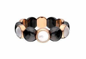Aura Dama medium bracelet with white doublet in rose goldplated and black polished ceramic