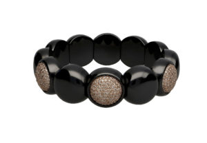 Dama medium bracelet in black shiny ceramic and diamonds