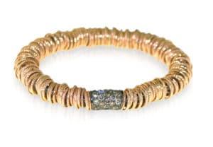 Jolly bracciale elastico grande in oro rosa con diamanti