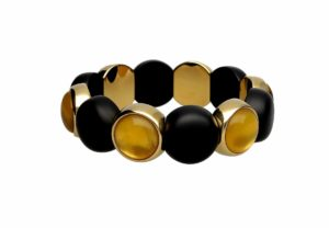 Aura Dama medium bracelet with yellow doublet in yellow goldplated and black matte ceramic
