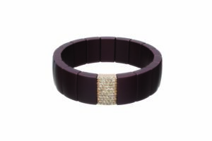 Domino bracciale elastico in ceramica marrone e diamanti brown