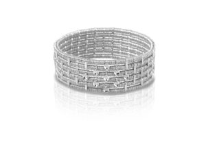 Joy six row white gold bracelet with white diamonds bezels