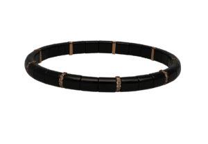 Pura bracciale elastico in ceramica nera lucida e diamanti brown