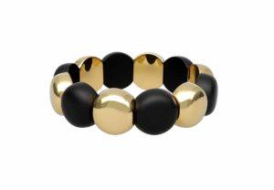 Aura Dama medium bracelet in yellow goldplated and black matte ceramic