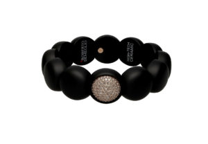 Dama medium bracelet in black matte ceramic and diamonds