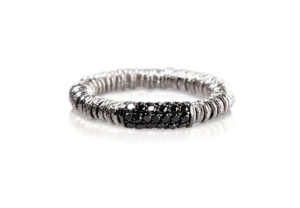 Joy elastic ring in white gold with black diamonds