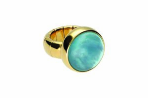 Aura Dama large ring with light blue doublet in yellow goldplated ceramic