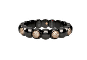 Dama small bracelet in black shiny ceramic and diamonds