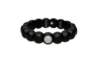 Dama bracciale elastico in ceramica nera e diamanti