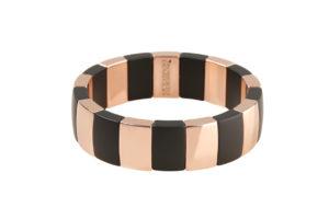 Aura bracciale in ceramica nera opaca e dorata rosa