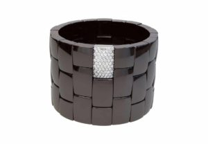 Domino 3 row black shiny ceramic bracelet with white diamonds