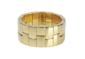 Aura bracciale due file in ceramica dorata gialla