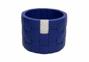 Domino 3 row blue matte ceramic bracelet with white diamonds