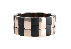 Aura 2 Row Black Matte and Rose Goldplated Ceramic Bracelet