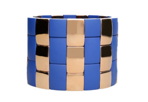 Aura 3 Row blue matte and rose goldplated ceramic bracelet