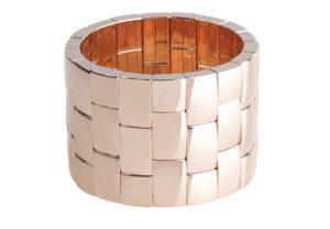 Aura bracciale tre file in ceramica dorata rosa