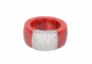 Domino red shiny ceramic ring with white diamonds