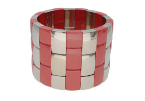 Aura 3 row red shiny and white goldplated ceramic bracelet