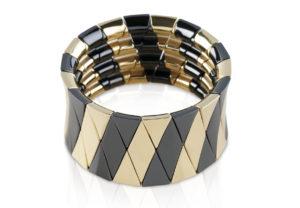 Aura Black Shiny and Yellow Goldplated Ceramic Bracelet