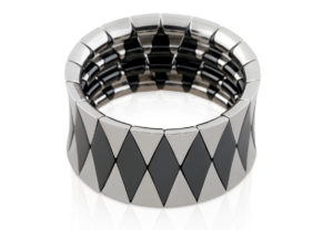 Aura Black Shiny and White Goldplated Ceramic Bracelet