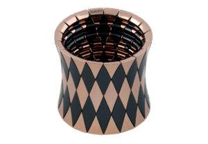 Aura bracciale elastico grande in ceramica nera opaca e dorata rosa