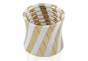 Aura White matte and Yellow Goldplated Ceramic Bracelet