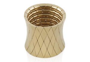 Aura bracciale elastico grande in ceramica dorata gialla