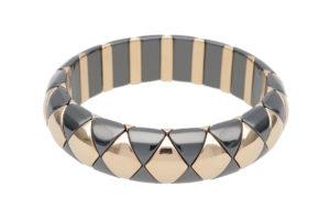 Aura Black Matte and White Goldplated Ceramic Bracelet
