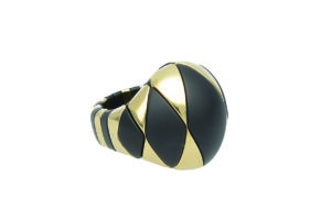 Aura black matte and yellow goldplated ceramic bracelet