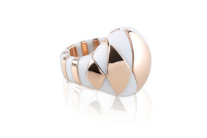 Aura white matte and rose goldplated ceramic ring