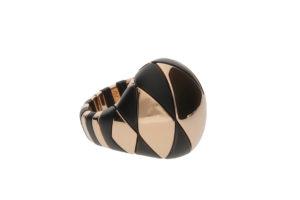 Aura anello in ceramica nera satinata e dorata rosa