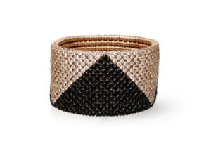 Cashmere, stretch bracelet in 18k rose gold with brown and black diamonds