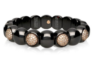 Dama, bracciale elastico in oro 18k diamanti brown e ceramica high tech nera lucida